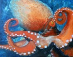 """SOLD Coral Octopus , Oil on Canvas, 16 x 20"""""""