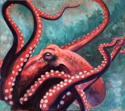 """Fearsome Fuschia, Oil on Canvas, 28 x 32"""", 2017"""