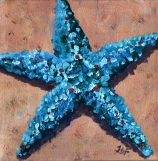 Teal star, Acrylic on canvas 10 x 10""