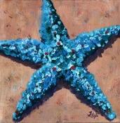 """Teal star, Acrylic on canvas 10 x 10"""""""