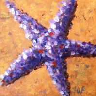 Violet star, Acrylic on canvas 6 x 6""