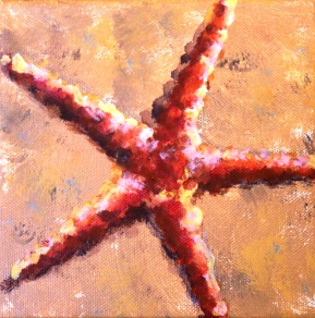 """Red star, Acrylic on canvas 6 x 6"""""""