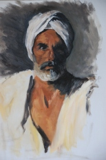 Head of an Arab, apres John Singer Sargent, oil on canvas