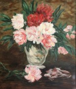 Edouard's Peonies, apres Manet, oil on canvas
