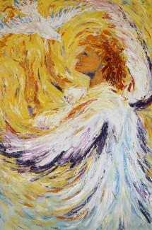Peace Angel, oil (knife) on canvas, 24 x 36