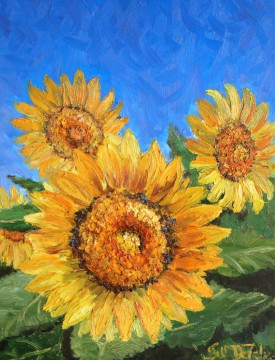 Fleurs du soleil, oil on canvas, 14 x 18