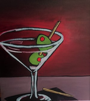 Martini, 2 Olives 12 x 12 Oil $125 Framed