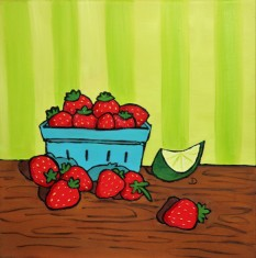 Strawberries and Lime 12 x 12 Oil Framed $150