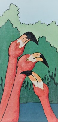 Flamingo Conversation 12 x 24 Acrylic $250 Framed