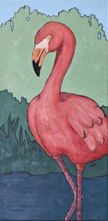 Flamingo 12 x 24 Acrylic $250 Framed