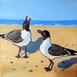 Laughing Gulls 2 12 x 12 Acrylic, $130 Framed