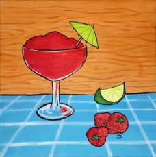 Strawberry Dacquiri 12 x 12 Mixed Media $150 Framed