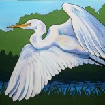 SOLD Egret in Flight 30 x 30 Acrylic $425