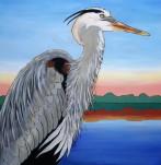 Great Blue Heron at Dawn, 30 x 30 Acrylic $450