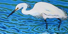SOLD Snowy Egret, Hunting 12 x 24, Acrylic 325