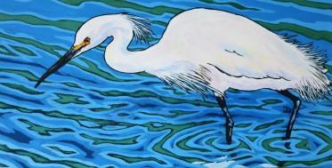 Snowy Egret, Hunting 12 x 24, Acrylic 325