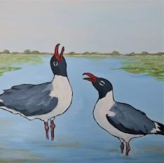 Laughing Gulls Conversation II 12 x 12 Acrylic $150