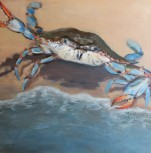 """Blue Crab, Water's Edge Oil on Canvas, 12x12"""" $160 framed"""