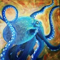 SOLD Blue Octo, Oil on Canvas, 20 x 20