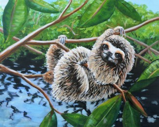 Slo-Mo Joe: 3 Toed Pygmy Sloth, 16 x 20, Mixed Media