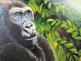 Ray of Hope: Mountain Gorilla, 30 x 40, Mixed Media